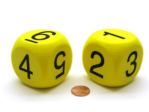 Pack of 2 50mm D6 Round Foam Dice Numbered 1 to 6 - Yellow with Black Numbers