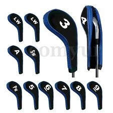 12Pcs/set Blue Golf Clubs Iron Head Covers Headcovers with Zipper Long Neck