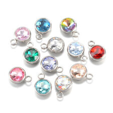 25pcs 304 Stainless Steel Glass Charms Round Faceted Dangle Pendants Craft 14mm