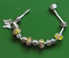 """7.5"""" SOLID 925 SILVER EURO BRACELET SUMMER  YELLOW BUTTERFLY CHARMS & STOPPERS"""