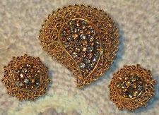 Vtg KARU ARKE Brooch Clip ER Set GOLD TONE PAISLEY FLORAL W GREY & BROWN Stones