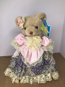 "Dan Dee The Bunny Trail Bear Blue Pink Dress Bow Fancy w/ Stand 16"" Tall Rare"