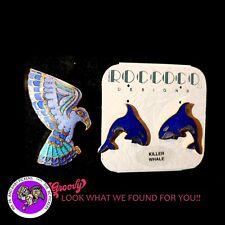 First Nation Haida 'Whale Earrings -Eagle Pin Blue' Enamel Cloisonne