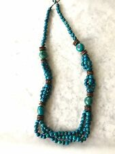 Tagua, Acai Seed Necklace. Handcrafted Tagua Nut Teal, Brown Necklace