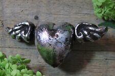 Silver Metallic Heart with Wings Clay Handmade by Rafael Pineda Mexican Folk Art