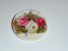"""Three Roses Button - Mother of Pearl MOP Shank Button 1+3/8"""" Red & White & Pink"""