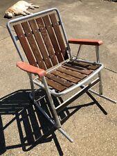 Vintage Aluminum Rocker Folding Lawn Chair Red Wood Slats Patio Retro MCM #28