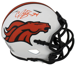 Broncos Champ Bailey Authentic Signed Lunar Speed Mini Helmet BAS Witnessed