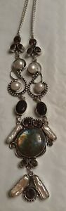 """Artisan Silver Labradorite Faceted Amethyst glass Pearl 18""""  Chain Necklace"""