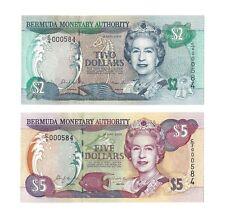 BERMUDA $2 & $5 Dollars 2000, P-50 + P-51, S/N 000584 MATCH, Pack Fresh UNC QEII