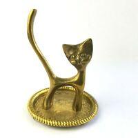 "Cat Brass Figurine Ring Holder Trinket Dish 4"" Tall"
