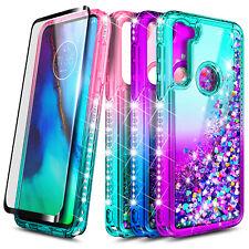 For Motorola Moto G Fast Case Liquid Glitter Cover + Tempered Glass Protector