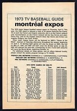 1973 MONTREAL EXPOS TV GUIDE BASEBALL SCHEDULE~CBC TELEVISION~GUY FERRON