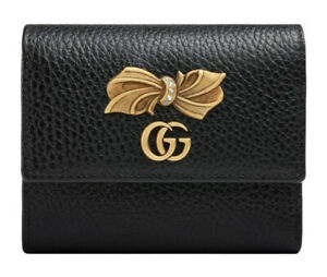 Gucci Womens Marmont Bow GG Wallet 524294, Black