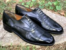 SALVATORE FERRAGAMO Men's Black Leather Cap Toe Dress Shoes Size 9 EE