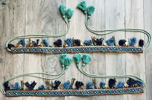 Curtain Holdbacks Rope Tie Back Blue Tassel Tiebacks Beaded Bohemian Sequin 2 pc