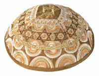 Jewish Gold Kippah with Embroidered Stars of David - Made in Israel - Raw Silk