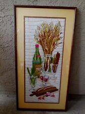 "Needle Point Wine  Wheat Bouquet Bread Vintage 15"" x 28"" Prof. Matted & Framed"