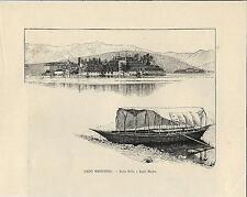 Stampa antica LAGO MAGGIORE Isola Bella e Isola Madre con barca 1892 Old print
