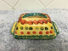 Handpainted Italica Ars Italy Pottery Rectangle Butter Dish