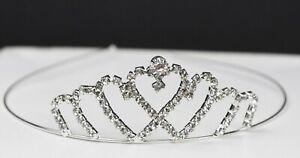 First Communion Hearts Tiara Quinceanera Headband Princess Crown Silver Corona N