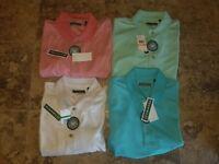 Nwt Mens Cubavera Polo Shirt Striped Mauve Glow Yucca Green White Blue Curacao