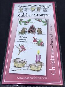 Joanna Sheen House Mouse unmounted rubber stamps - Christmas Walnut Cradles