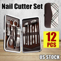 12PCS Pedicure / Manicure Set Nail Clippers Cleaner Cuticle Grooming Kit Case US