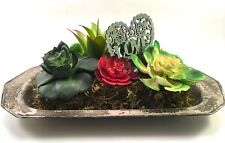 faux succulent plant arrangement in vintage silver-plated tray with LOVE heart
