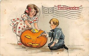 H12/ Halloween Postcard c1910 Lorain Ohio Jack-O-Lantern HBG Signed 5