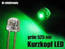 500 Stück LED 5mm straw hat grün, Kurzkopf, Flachkopf 110°