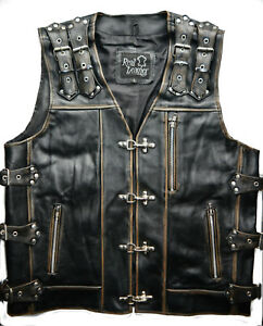 Motorcycle Biker Mens Black Vest Genuine Leather
