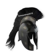 Antique Black Achilles Armor Medieval Troy Helmet Black Plume