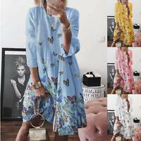 Plus Size Women Boho Loose Tunic Dress Ladies Butterfly Print Baggy Kaftan Dress