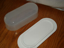 TUPPERWARE Impressions Butter Dish w/ Cover ~White~ Simple Elegance - BPA FREE