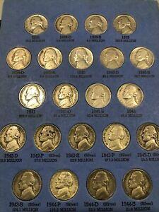 Jefferson Nickel 5c Complete Collection 1938-1961 in Whitman Album #1