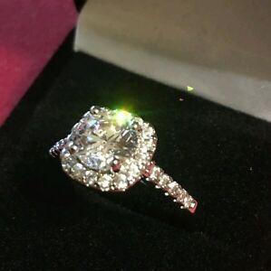 2CT Moissanite 18K White Gold Finish Diamond Engagement Ring