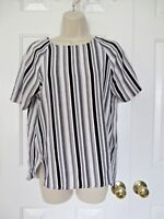H&M Women's Striped Blouse Top Shirt Black Cream Career or Casual Size 10
