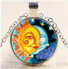 Sun And Moon Photo Cabochon Glass Tibet Silver Chain Pendant Necklace