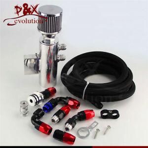 Power Driven Oil Catch Can / Breather Tank Race Kit W/ Hose for Honda Acura VTEC