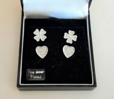 NEW Women's Earrings Rhinestone Fine Silver Heart & Cross Clover Flower 2 Pairs