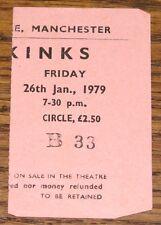 THE KINKS ORIGINAL BELLE VUE MANCHESTER TICKET STUB 26 JANUARY 1979
