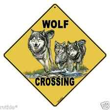 "Wolf Metal Crossing Sign 16 1/2"" x 16 1/2"" (Hanging) Diamond shape made Usa #28"