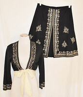 VTG 90s 2 pc Black CHIC Embroidered Sequin Beaded Skirt & Empire Tie Shrug Top 8