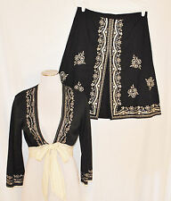 VTG 90s 2 pc Black CHIC Embroidered Sequin Beaded Skirt & Empire Tie Shrug Top 8