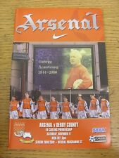 11/11/2000 Arsenal v Derby County  . Item appears to be in good condition unless