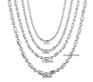1,6 / 2 / 2,4 / 3mm Kugelkette Echt Edelstahl Damen Herren Halskette 40 - 90cm