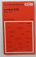 1970 old vintage OS Ordnance Survey Seventh Series one-inch map 170 London S W