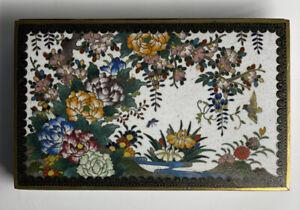 FINE Antique 20th C. Japanese Cloisonne Hinged Box Floral White Enamel