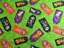 Halloween FQ Fat Quarter Tissu citrouilles fantômes squelettes 100% coton quilting